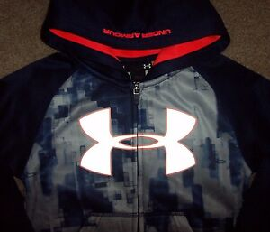 NWT Under Armour Full Zip BLUE KNIGHT Hoodie Jacket 44T Boys REFLECTIVE LOGO