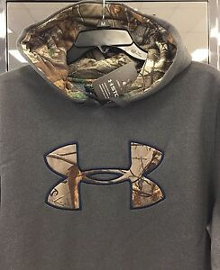 New $70 Under Armour Men's Hoodie Hooded Sweatshirt L or XL TALL Loose Gray Camo