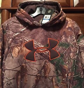 New $60 Under Armour YOUTH Hoodie Hooded Sweatshirt Boy Realtree CAMO Loose L XL