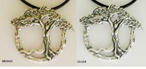 Tree of Life Daphne Pendant .925 Sterling Silver Or Bronze Leather Cord Necklace