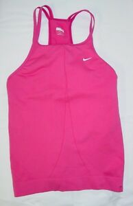 Womens Nike Tank Top Shirt Sz S 4-6 Pink Double Straps Bra lined fit Dry ee61