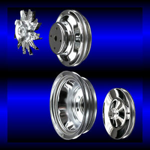 Chrome big block Chevy pulley set 4 pulleys long pump BBC 396 427 454 ac and ps $120.99