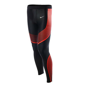 Nike Power Speed Men's Running Tights SZ L Black Red 717750-015 $150