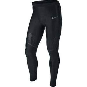 Nike Power Speed Men's Running Tights SZ L Black Silver 717750-010 $150