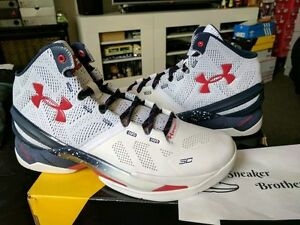 Under Armour UA Curry 2 Two USA Olympic White Midnight Navy Red 1259007-105 MVP