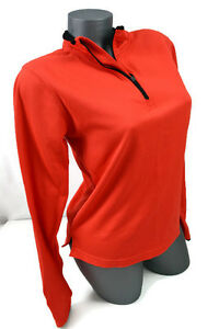 Brooks Running Womens Orange Long Sleeve Top Shirt Pullover 14 Zip Size M