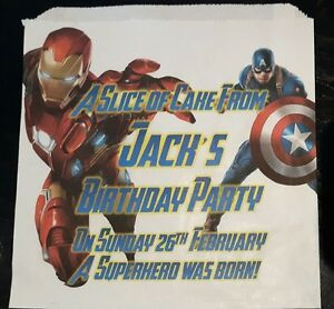 Personalised Ironman & Captain America White Cake / Party Bags