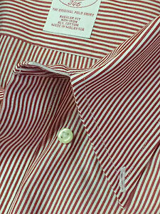 BROOKS BROTHERS Mens BUTTON DOWN Dress Sport Shirt RED WHITE STRIPE 18 35