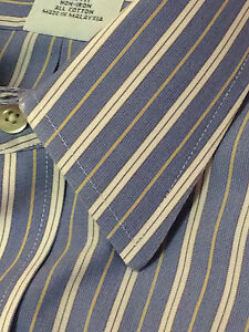 BROOKS BROTHERS Mens POINT COLLAR Dress Sport Shirt BLUE WHITE STRIPE 15 33