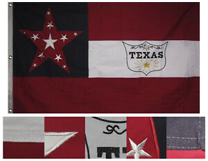 3x5 Embroidered 6th Texas Cavalry Regiment 100% Cotton Flag 3#x27;x5#x27; 3 clips