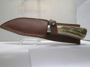 vintage wostenholm bowie knife sheffield england  nice stag handles sweet knife