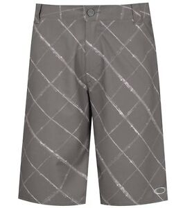 OAKLEY SCOTTS Golf Plaid Flat Front Shorts 441724 GRIGIO SCURO  GRAY PINK