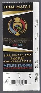 2016 COPA AMERICA CENTENARIO FINAL MATCH FULL UNUSED TICKET CHILE vs ARGENTINA