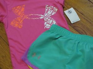 NWT UNDER ARMOUR GIRLS 44YR SS ARMOUR LOGO SHIRT & SHORTS OUTFIT SETS