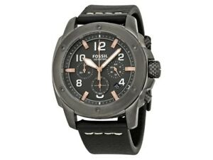 Fossil FS5016 Modern Machine Men's Black Leather Bracelet With Grey Analog Dial
