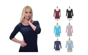 WOMEN 3 4 SLEEVE 100% COTTON SCOOP NECK FITTED STRETCH T SHIRT MISSES PLUS S XL