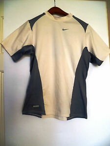 Nike Dri-Fit Mens S SMALL White Spandex Compression Short Sleeve Shirt Running