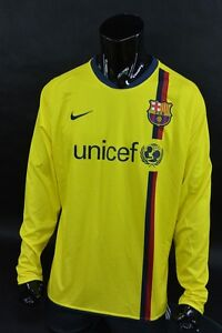 US  Barca 2008-10 nike FC Barcelona Away LS Football Shirt Player Issue SIZE XL