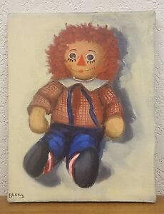 Vintage Original One of a Kind Painting of Raggedy Andy Signed 14quot; x 11quot; $40.00