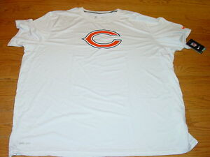 MENS 3XLT NIKE DRIFIT ON FIELD CHICAGO BEARS SHORT SLEEVE SHIRT WHITE NEW