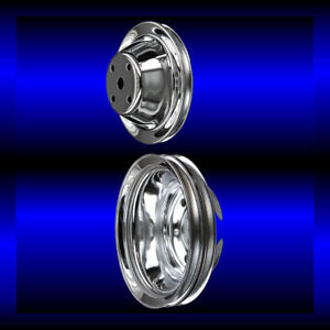 Chrome small block Chevy pulley set 2 pulleys long pump SBC for alt and ps $60.99
