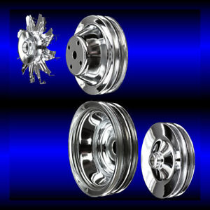 Chrome small block Chevy pulley set 4 pulleys for long pump 283 327 350 383 400 $120.99