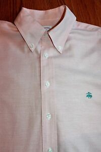 Men's BROOKS BROTHERS size Large 16.5-35 Peach Sport Shirt Non-Iron Madison Fit