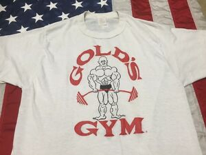 vtg 80's GOLDS GYM paper thin SHIRT workout 5050 fitted MUSCLE body building T