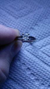 Jewelry diamond ring 14k white gold princess cut diamond .25ct diamond ring