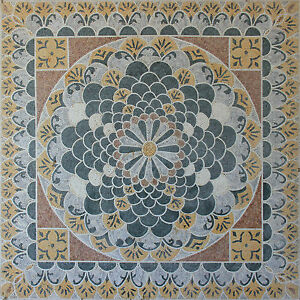 Square Carpet Floor Mandala Design Masterpiece Decor Marble Mosaic CR1141