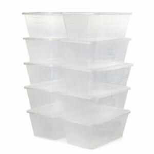 Life Story 13.7 x 8 x 4.9 Inch Shoe Storage Box Stacking Container 10 Pack
