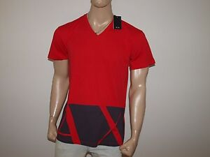 Armani Exchange Authentic AX Hem Print Oversized V Neck T Shirt Cardinal Red NWT