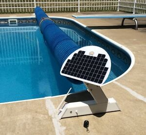 Pool Cover Blanket Reel Solar Charged Battery Motor Powered Remote Controlled