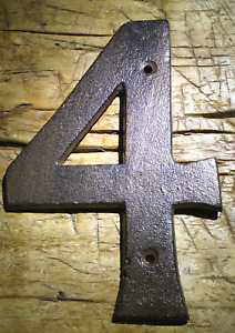 Rustic BROWN Cast Iron Metal House Numbers Street Address 6 1/4 INCH Phone #'s 4