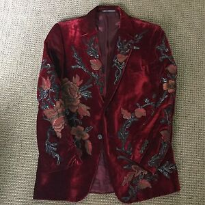 Mens Tom Ford For Gucci Dinner Jacket Velvet Sport Coat Hand Embroided Couture M