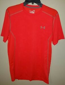 Under Armour 1257466 UA Men ORANGE Tech SS sz SMALL fitted T-Shirt Tee quick dry