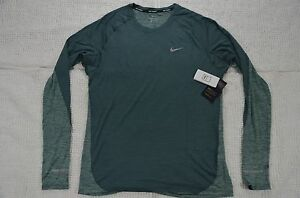 Nike Men's Large Hasta Green Dry Dri-Fit Wool Blend Long Running Shirt NWT