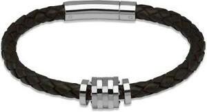 Unique Men Brown Braided Leather Bracelet B226DB19CM