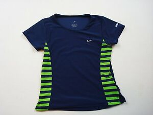 Nike Dry Fit Compression T-shirt Women's Size Medium Navy With Green A15
