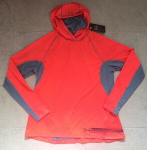 New Under Armour Women Xlarge Loose Hoodie T Shirts Top $85 Orange Gray