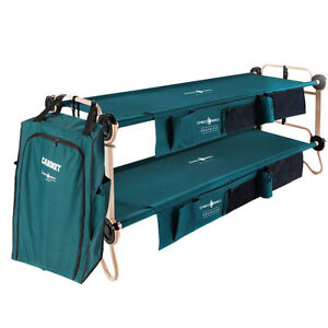 Disc-O-Bed X-Large Cam-O-Bunk Bench Bunked Double Cot + 3 Shelf Hanging Cabinet