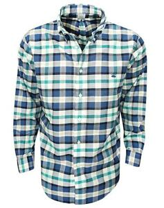 New Brooks Brothers- Large Plaid Oxford Sport Shirt NavyTeal Size Extra Large