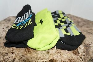 Under Armour Boys CREW SOCKS 3-PACK Black Green YLG Shoe Size 1-4 Charged Cotton