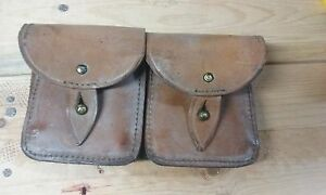 French Military Mas Leather Ammunition Pouch 2 magazine capacity #G1 $22.00
