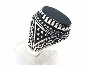 925 STERLING SILVER HANDMADE BLACK ONYX TURKISH OTTOMAN MENS RING SZ 8.25 USA