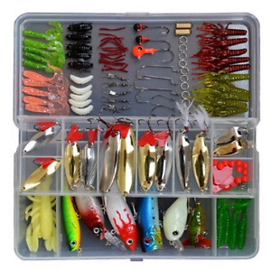 129 Pc Fishing Lure Tackle Kit Set W Box For Ocean River Lake FreshSalt Water