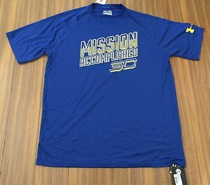 New Under Armour Mens Loose Xlarge Blue T Shirts Top Curry SC