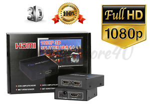 Full HD FHD 1x2 Port HDMI Splitter Amplifier Repeater 3D 1080p HDTV - 1 in 2 out