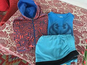 BOY'S LOT OF 3 - UNDER ARMOUR ZIP HOODIE SHORTS AND SHIRT - SIZE XL - 1820.