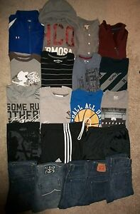 GUC!!  LOT OF 20 BOYS SIZE 14 16 XL S NAMEBRAND FALL WINTER LEVI UNDER ARMOUR